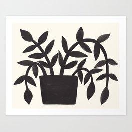 Black Painted Plant Art Print
