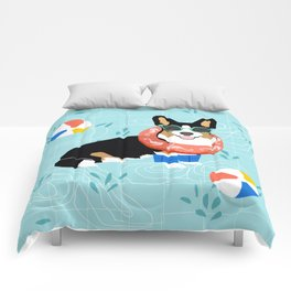 Tricolored Corgi Pool Party - cute corgi dog design pool party summer beach ball dog costume dogs Comforters