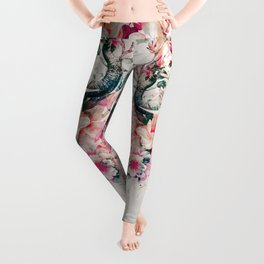 Watercolor Elephant and Flowers Leggings