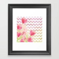 Chevron Tulips Framed Art Print