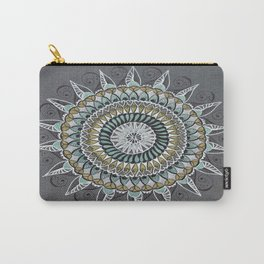 White Gold Green Mandala Mindfulness Art Carry-All Pouch
