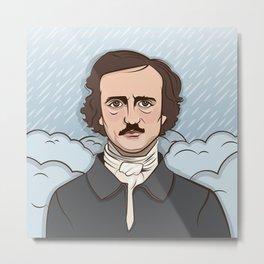 Poe in the Rain Metal Print