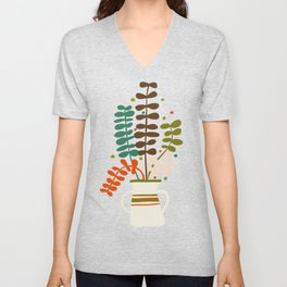 Potted Leaves Unisex V-Neck