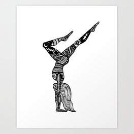 Yoga Girl - Handstand Moon and Stars Art Print