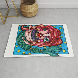 JennyMannoArt Mermaid Illustration/Red Rug