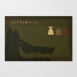 3 Little Pigs Minimalist Fairytales Canvas Print