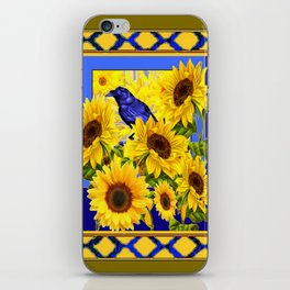 DECORATIVE BLUE CROW & YELLOW SUNFLOWERS LATTICE iPhone Skin