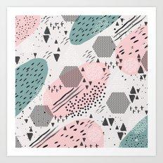 Geometric shapes & strokes Art Print