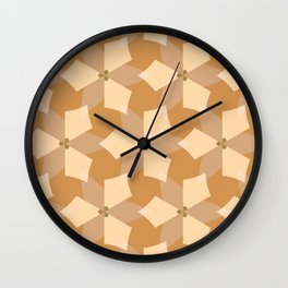 Geometric Pattern in Hues of Cream and Soft Orange Wall Clock