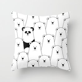 Polar bear and panda cartoon Throw Pillow