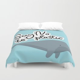 Say no to plastic. Whale, sea, ocean.  Pollution problem concept Eco, ecology banner poster. Duvet Cover
