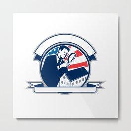 American Home Inspector USA Flag Circle Icon Metal Print