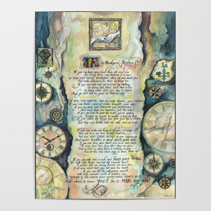 Calligraphy Of The Poem If By Rudyard Kipling Poster By Fanitsapetrou