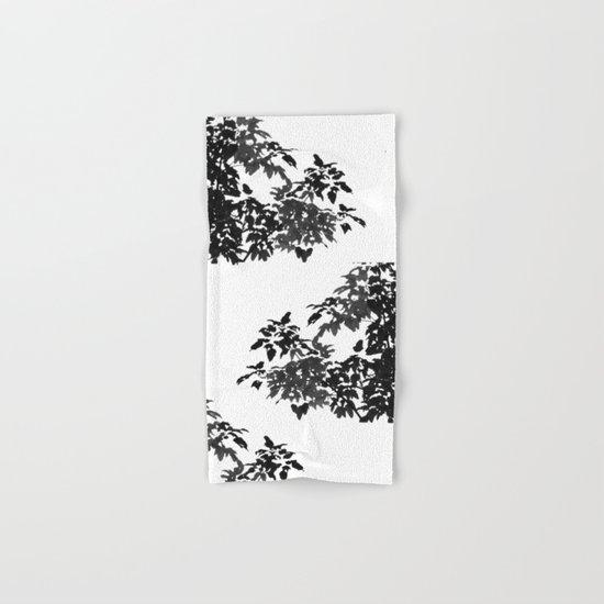 Leaves Silhouette - Black & White Hand & Bath Towel