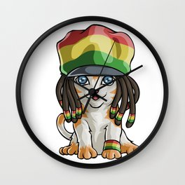 Jamaican Flag Cat Wall Clock