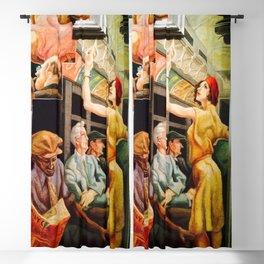 Classical Masterpiece 'Boston - Girl on the Subway' by Thomas Hart Benton Blackout Curtain