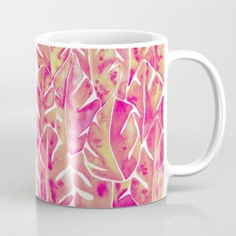 Split Leaf Philodendron – Pink Coffee Mug
