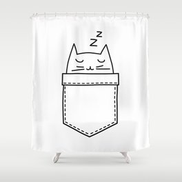 Cat sleeping in the pocket Shower Curtain