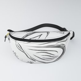 butterflies and flowers. Black and white silhouette sketch butterflies and flowers Fanny Pack