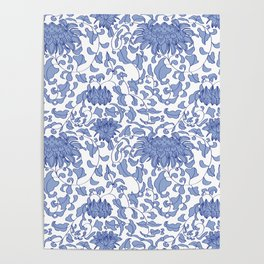 Chinoiserie Vines in Delft Blue + White Poster