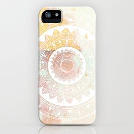 Ukatasana white mandala on pink iPhone Case