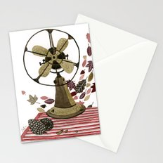 Still life with vintage fan and autumn leaves Stationery Cards