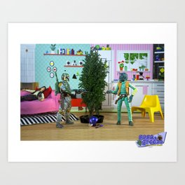 Boba & Greedo: A Tree Trimming Squabble Needn't Be Solved By Blasters Art Print