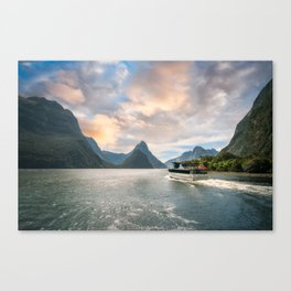 A Cruise going into Sunset at Milford Sound Canvas Print