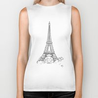 eiffel tower Biker Tanks featuring EIFFEL TOWER by DMorrow Art