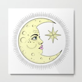 The Moon Vintage Look Pastel Colors Metal Print