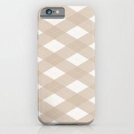 Pantone Hazelnut, Tan Argyle Plaid, Diamond Pattern iPhone Case