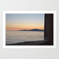 just beyond the ledge Art Print