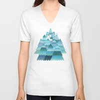 outdoor V-neck T-shirts featuring Tree Hugger by littleclyde