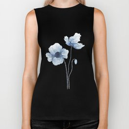 Blue Watercolor Poppies Biker Tank
