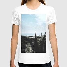 Dark green cactus leaves ocean backdrop | Botanical garden | Travel photography art print T-shirt