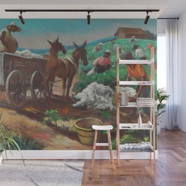 Classical Masterpiece 'Cotton Picking and Loading' by Thomas Hart Benton Wall Mural