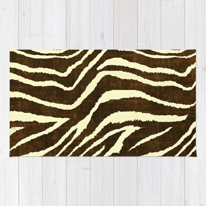 Animal Print Zebra In Winter Brown And Beige Rug By