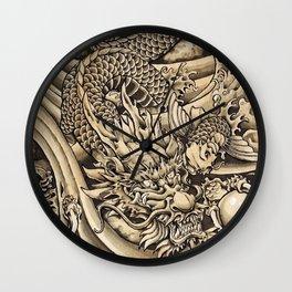 Japanese dragon and Koi fish Wall Clock