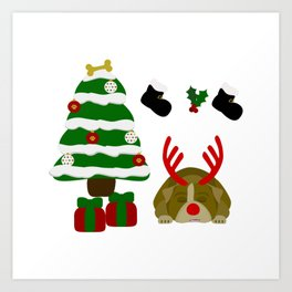 Christmas Sleeping Bulldog - Reindeer Under the Tree Art Print
