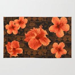 Kalalau Tapa Hawaiian Hibiscus Vintage Inspired Print Rug