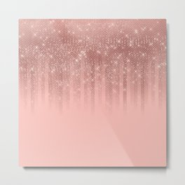 Glamorous Pink Rose Gold Glitter Striped Gradient Metal Print