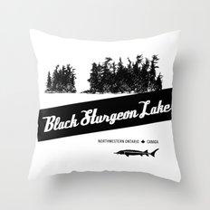 Black Sturgeon Lake (black) Throw Pillow