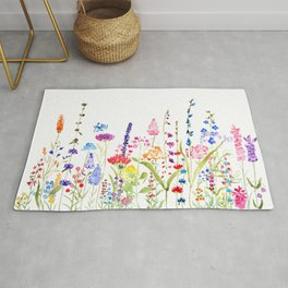 colorful wildflower fields watercolor Rug
