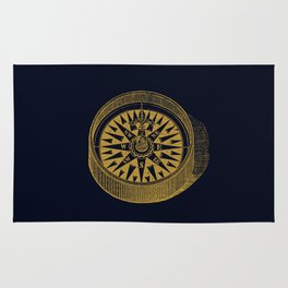 The golden compass I- maritime print with gold ornament Rug