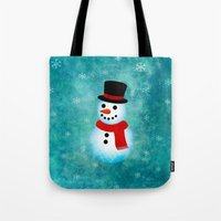 snowman Tote Bags featuring snowman by vitamin