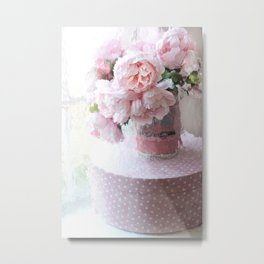 Shabby Chic Cottage Pink Impressionistic Peonies in Vintage Sugar Bucket Metal Print