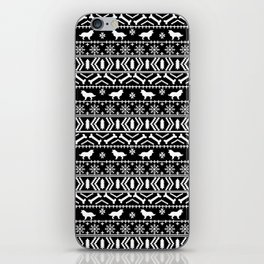 Border Collie fair isle christmas black and white holiday sweater dog breed gifts iPhone Skin
