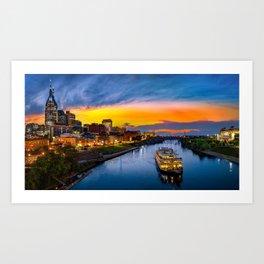 Nashville Skyline with General Jackson Art Print