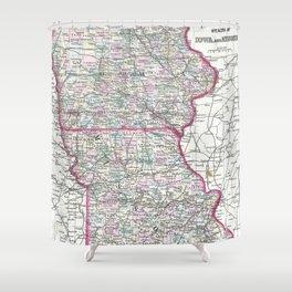 Vintage Iowa and Missouri Map (1874) Shower Curtain