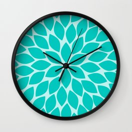 Turquoise Chrysanthemum Wall Clock